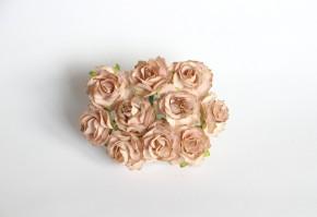 Розы кудрявые 3 см бежевые, 1 шт.