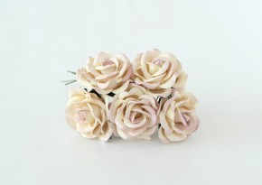 Макси-розы с закругленными лепестками Светло-сиреневый+молочный, 1 шт.