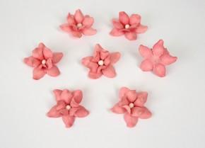 Цветы фиалки 3 см, Розовоперсиковые тёмные, 5 шт.