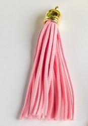 Кисточка замшевая с золотым колпачком 8,5 см, розовая, 1 шт.