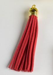 Кисточка замшевая с золотым колпачком 8,5 см, красная, 1 шт.