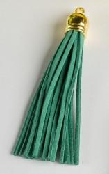Кисточка замшевая с золотым колпачком 8,5 см, зеленая, 1 шт.
