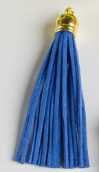 Кисточка замшевая с золотым колпачком 8,5 см, легкий синий, 1 шт.