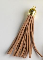 Кисточка замшевая с золотым колпачком 8,5 см, светло-коричневая, 1 шт.
