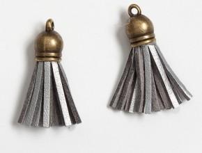 Кисточка замшевая с бронзовым колпачком 3,8 см, серебро, 1 шт.