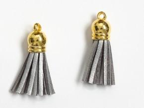 Кисточка замшевая с золотым колпачком 3,8 см, серебро, 1 шт.