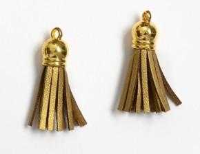 Кисточка замшевая с золотым колпачком 3,8 см, золотая, 1 шт.
