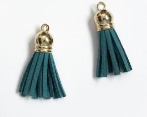 Кисточка замшевая с золотым колпачком 3,8 см, морской зеленый, 1 шт.