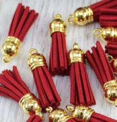 Кисточка замшевая с золотым колпачком 3,8 см, красная, 1 шт.