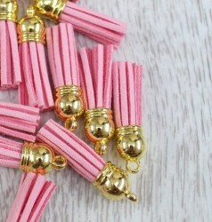 Кисточка замшевая с золотым колпачком 3,8 см, розовая, 1 шт.