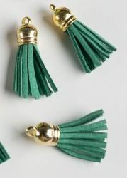 Кисточка замшевая с золотым колпачком 3,8 см, зеленая, 1 шт.