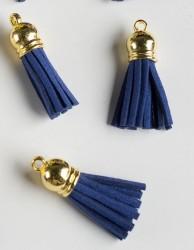 Кисточка замшевая с золотым колпачком 3,8 см, темно-синяя, 1 шт.