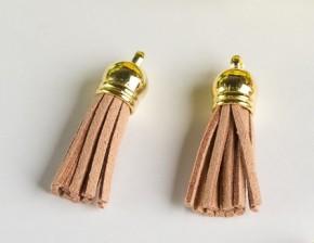 Кисточка замшевая с золотым колпачком 3,8 см, светло-коричневая, 1 шт.