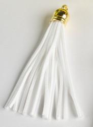 Кисточка замшевая с золотым колпачком 8,5 см, белая, 1 шт.