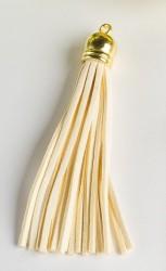 Кисточка замшевая с золотым колпачком 8,5 см, бежевая, 1 шт.