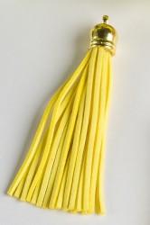 Кисточка замшевая с золотым колпачком 8,5 см, желтая, 1 шт.