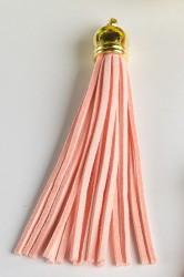 Кисточка замшевая с золотым колпачком 8,5 см, розовый персик, 1 шт.