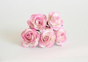 Макси-розы с закругленными лепестками розовый+ белый, 1 шт.