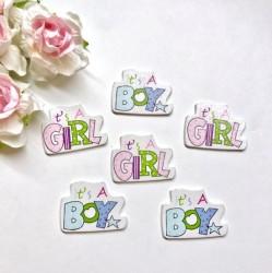 """Деревянные украшения """"It's a Boy / It's a Girl"""",  26 х 35 мм, 2 шт."""