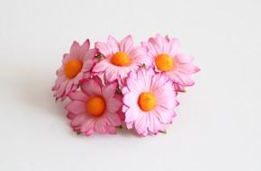 Ромашки плоские Розовые, 3,5 см, 5 шт.