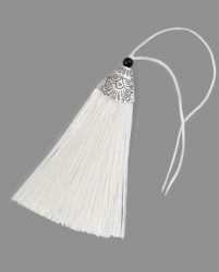 Кисточка Белая 9 см. с металлическим декором, иск. шелк