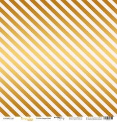Лист односторонней бумаги с золотым тиснением 30x30 Золотая полоска на розовым от Scrapmir Every Day Gold