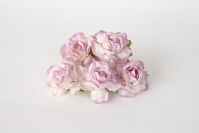 Розы кудрявые 4 см белый+св. сиреневый на кончиках, 1 шт.