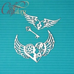Чипборд Сердца с крыльями