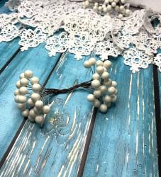 ягодки на веточке белые, 1 двусторонняя веточка