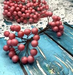 Ягодки на веточке светло-розовые, 1 двусторонняя веточка