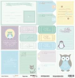 Лист односторонней бумаги 30x30 от Scrapmir Карточки из коллекции Baby Boy 10шт