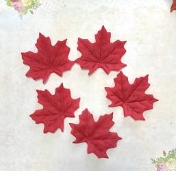 Листья клена из ткани 7 см, 5 шт