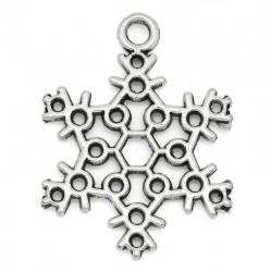 Снежинка серебристая, 23 х 17 мм