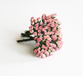 Микро бутоны роз Розовый с желтым, 1 шт.