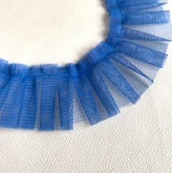 Лента с оборками из очень мягкой сетки, св. синяя, 43 см