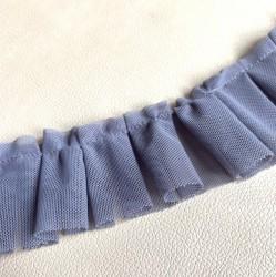 Лента с оборками из очень мягкой сетки, серая, 47 см