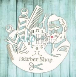 Чипборд Barber shop 9*9 см