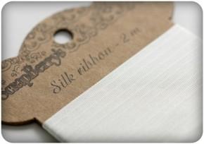 Лента шелк 100%, белая, 15 мм, 2 м.