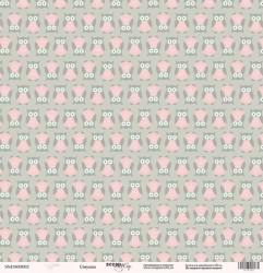 """Бумага односторонняя от Scrapmir """"Совушка"""", из коллекции """"Baby Girl"""", 30,5 х 30,5 см, 190 г/м"""