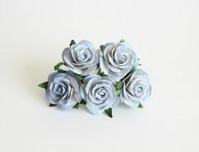 Midi розы 2,5 см Голубой 2хтоновый, 1 шт