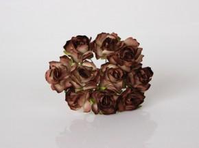 Кудрявые розы 3 см, Коричневые 2-ухтоновые, 1 шт