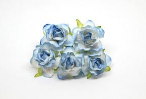 Розы  кудрявые 4 см Голубые 2-ухтоновые, 1 шт
