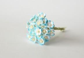Цветок вишни Бирюзовый + белый мини, 1 шт