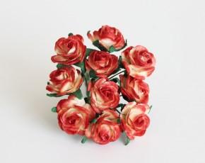 Розы 2 см красно-желтые, 1 шт.