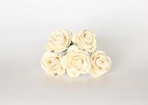 Макси-розы с закругленными лепестками молочные 1 шт.